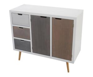Commode DESIGN bois de pin, blanc - L100