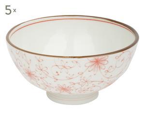 5 Bols CHITA porcelaine, orange et blanc - Ø12