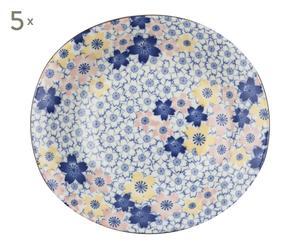 5 Assiettes SAKURA porcelaine, multicolore - Ø22