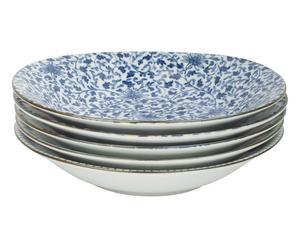 5 Assiettes DIVE porcelaine, bleu et blanc - Ø20