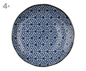 4 Assiettes TRI porcelaine, bleu et blanc - Ø26