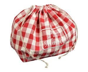 Sac à pain coton, rouge et blanc - H30