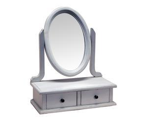 Miroir coiffeuse bois d\'acajou, gris antique - 40*50