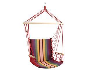 Fauteuil suspendu coton et bois, multicolore - L70