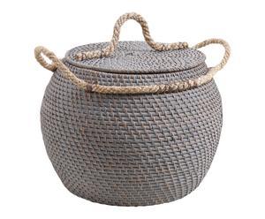 Coffre BOULE rotin teinté et corde, gris - Ø40