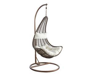 Balancelle métal et polyester, marron et blanc - Ø95