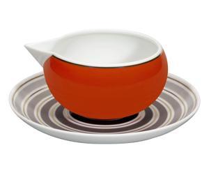 Saucière et soucoupe CASABLANCA porcelaine, gris et orange - Ø19