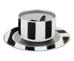 Tasse à thé et sous-tasse porcelaine, blanc et noir - Ø9
