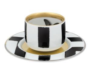 Tasse à café et sous-tasse porcelaine, blanc et noir - Ø7