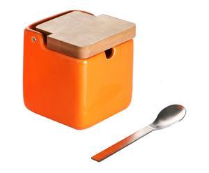Sucrier céramique, orange et naturel - 9*9