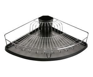 Egouttoir à vaisselle acier, noir et argenté - L37