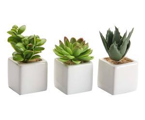 3 Plantes artificielles en pot céramique, blanc - H10