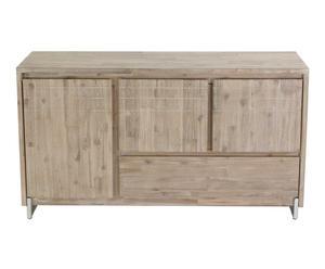 Meuble bas bois d\'acacia et acier brossé, gris clair - L136