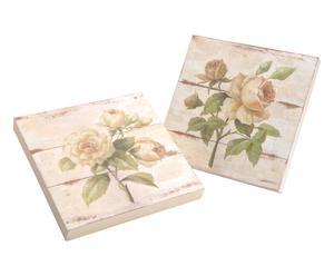 2 Planches décoratives, crème et rose - 25*25
