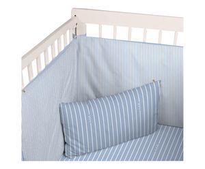 Tour de lit REJONEO, blanc et bleu - 180*40