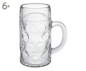6 Chopes à bière, transparent - 500mL