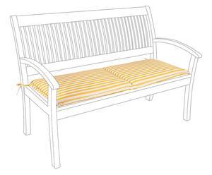 Coussin de banc, jaune et blanc - 42*165