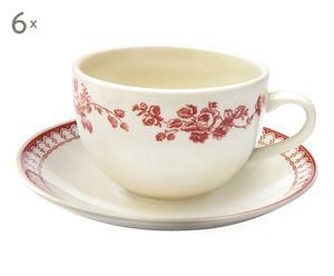 6 Tasses à thé FAUSTINE, rouge et blanc - 25cL