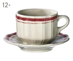 12 Tasses à thé MARIUS, rouge et blanc - 18cL