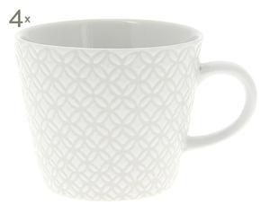 4 Mugs JODY porcelaine, blanc - H8