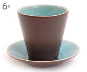 Tasse à thé PASYPHAE, bleu et marron - H10
