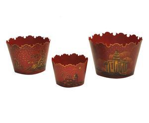 3 Cache-pots, rouge et noir - Ø21