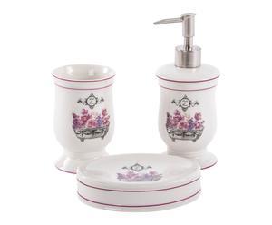 Set d\'accessoires de salle de bain, violet et blanc - 3 PIECES