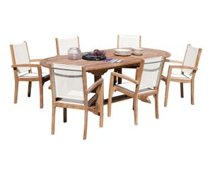 Salon de jardin, bois de teck massif - L180-240