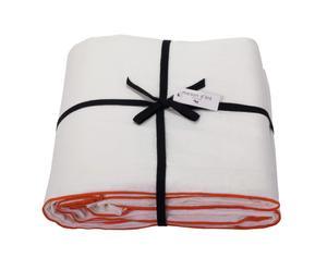 Housse de couette BOURDON lin, blanc et orange, 260 x 240 cm