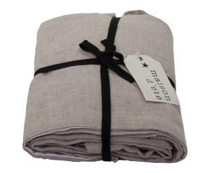 Cache sommier coton et lin lavé, taupe, 200 x 160 cm