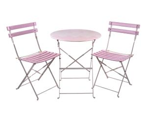 Table et 2 chaises - banc et rose