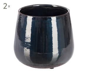 2 Cache-pots, noir - H16
