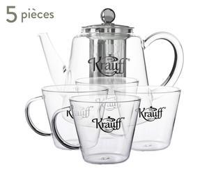 Service à thé, transparent et argenté - 5 pièces