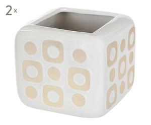 2 Vases, blanc et crème - L17