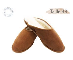 Paire de chaussons MULES, marron et beige - T43