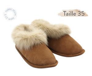 Paire de chaussons SLIPPERS, - marron et beige - T35
