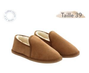 Paire de chaussons MERINO, marron et beige - T39