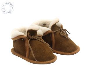 Paire de chaussons pour bébé BOOTIES, marron et beige, Taille : 24
