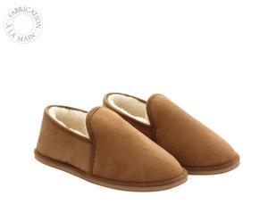 Paire de chaussons MERINO, marron et beige, Taille : 39