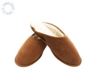 Paire de chaussons MULES, marron et beige, Taille : 39