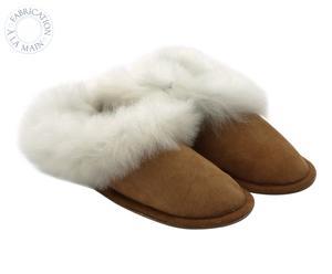 Paire de chaussons TRADITIONAL, marron et blanc, Taille : 44