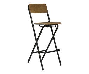 Chaise haute pliante, naturel et noir - H105