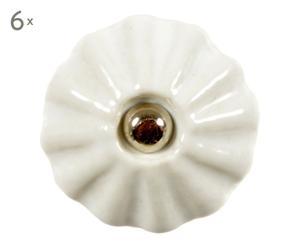 6 Boutons de porte, blanc et doré - Ø3