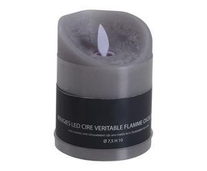 Bougie LED FLEUR DE COTON, gris et blanc - H10