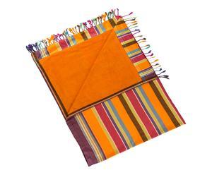 Pareo polyester et coton, safran et violet - 100*178