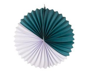 Lampion accordéon, blanc et vert canard - Ø27