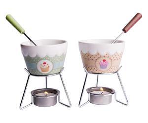 Service à fondue , céramique et inox - 8 pièces