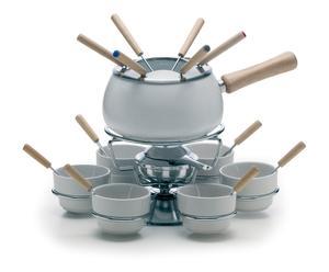 Service à fondue  céramique et inox, blanc - 21 pièces