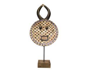 Masque africain  bois de teck fait main, noir - L51
