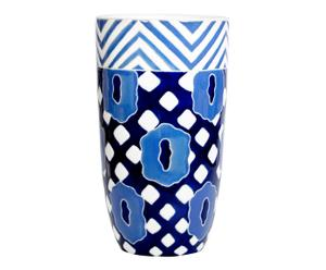 Cache-pot CHANGE céramique, blanc et bleu, Ø25 cm